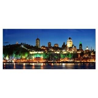 Designart 'Panoramic Quebec City at Night' Cityscape Photo Metal Wall Art