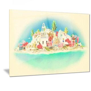 Designart 'Santorini Panoramic View' Cityscape Watercolor Metal Wall Art