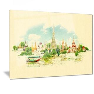 Designart 'Bangkok Panoramic View' Cityscape Watercolor Metal Wall Art