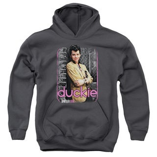 Pretty in Pink/Just Duckie Youth Pull-Over Hoodie in Charcoal