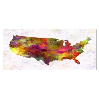 Designart 'United States Map in Colors' Watercolor Painting Metal Wall Art