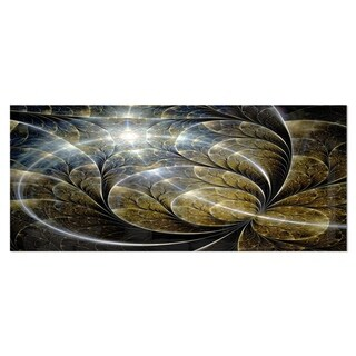 Designart 'Symmetrical Gold Fractal Flower with Lighting' Floral Metal Wall Art