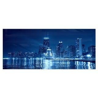 Designart 'Blue Chicago Skyline Night' Cityscape Photo Metal Wall Art