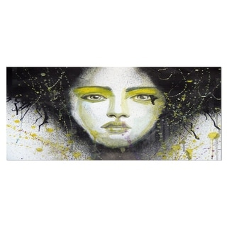 Designart 'Girl with Yellow Eye line Large' Portrait Digital Art Metal Wall Art