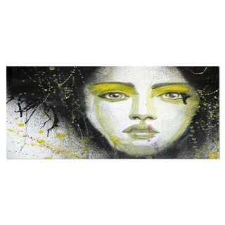Designart 'Girl with Yellow Eye line' Portrait Digital Art Metal Wall Art