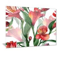 Designart 'Red Floral Pattern Art' Floral Art Metal Wall Art