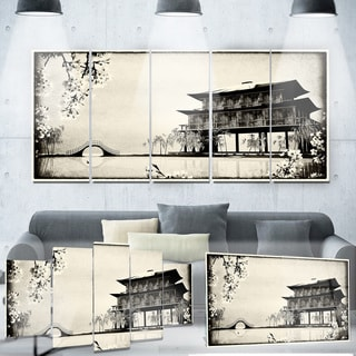 Designart 'Chinese Ink Painting' Chinese Landscape Metal Wall Art