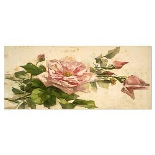 Designart 'Pink Flower Illustration' Floral Art Painting Metal Wall Art