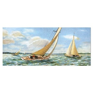Designart 'Vintage Boats Sailing' Seascape Painting Metal Wall Art