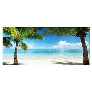 Designart 'Palm Trees and Sea' Landscape Photo Metal Wall Art