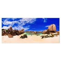 Designart 'Tropical Beach at Seychelles' Landscape Photo Metal Wall Art