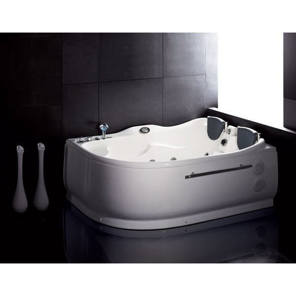 eago am124 l white acrylic 6 39 whirlpool corner bathtub with left drain