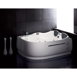 Eago AM124-L White Acrylic 6' Whirlpool Corner Bathtub With Left Drain