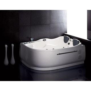 Eago AM124 L White Acrylic 6u0027 Whirlpool Corner Bathtub With Left Drain
