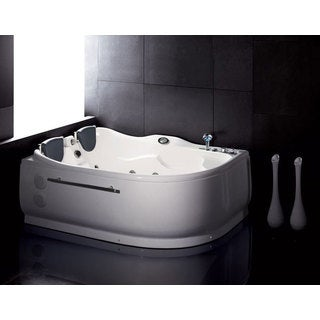 EAGO AM124-R White Acrylic 6-foot Corner Whirlpool Bathtub