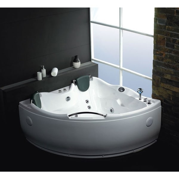 eago am125 white acrylic 5 foot double corner whirlpool bathtub free