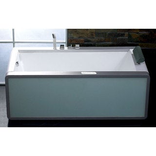 EAGO AM151-L White Acrylic and Glass 6-foot Modern Whirlpool