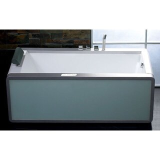 Whirlpool White Acrylic Multicolored Light-up Glass Panel Bathtub