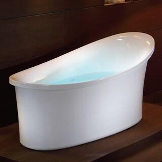 EAGO AM1800 White Acrylic 70.875-inch x 33.5-inch x 31.875-inch Free-standing Blower Motor Air Bubble Bathtub