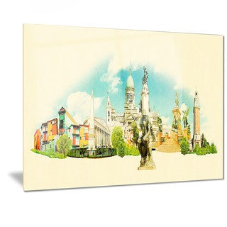 Designart 'Buenos Aires Panoramic View' Cityscape Watercolor Metal Wall Art