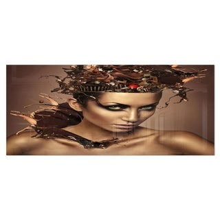 Designart 'Woman with Chocolate in Head' Portrait Metal Wall Art (4 options available)