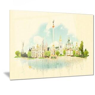 Designart 'Kiev Panoramic View' Cityscape Watercolor Metal Wall Art