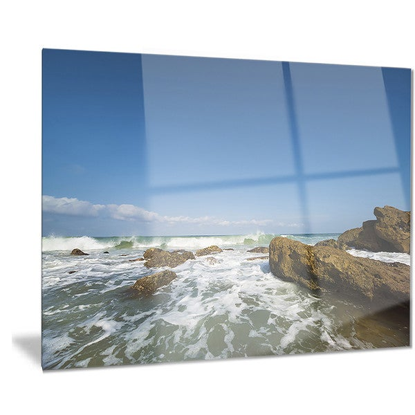Shop Designart 'Sea with White Waves' Seascape Photo Metal Wall Art