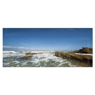 Designart 'Sea with White Waves' Seascape Photo Metal Wall Art