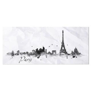 Designart 'Paris with Eiffel Silhouette' Cityscape Painting Metal Wall Art