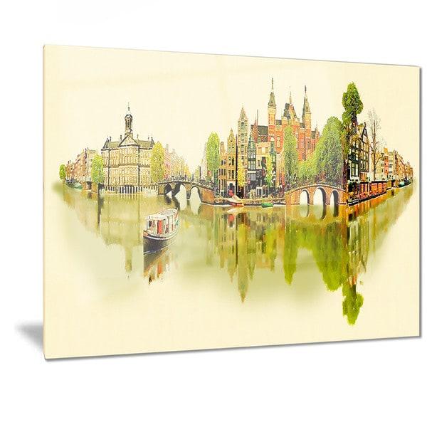 Designart \'Amsterdam Panoramic View\' Cityscape Watercolor Metal Wall ...