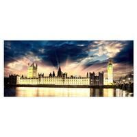 Designart 'Parliament at River Thames' Cityscape Photography Metal Wall Art