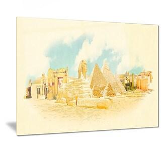 Designart 'Cairo Panoramic View' Cityscape Watercolor Metal Wall Art