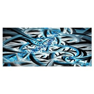 Designart 'Blue Spiral Fractal Design' Abstract Digital Art Metal Wall Art