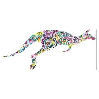 Designart 'Floral Kangaroo Running' Animal Digital Art Metal Wall Art