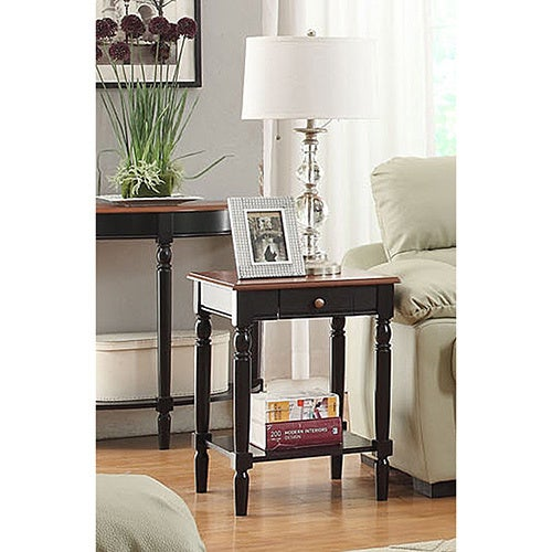 Convenience Concepts French Country End Table With Drawer And Shelf