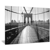 Designart 'Dark Brooklyn Bridge' Cityscape Photo Metal Wall Art