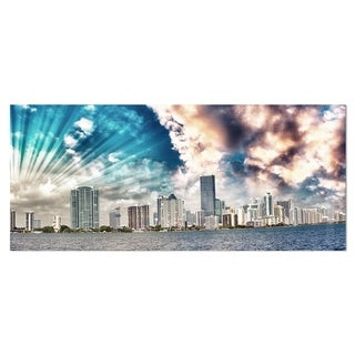 Designart 'Miami Skyline with Clouds' Cityscape Photo Metal Wall Art