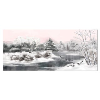 Designart 'Grey Winter Vector' Landscape Watercolor Metal Wall Art