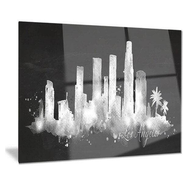 Los Angeles Wall Art designart 'los angeles dark silhouette' cityscape painting metal