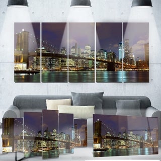 Designart 'Brooklyn Bridge Panoramic View' Cityscape Photo Metal Wall Art