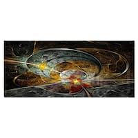 Designart 'Symmetrical Yellow Digital Art Flower' Floral Art Metal Wall Art