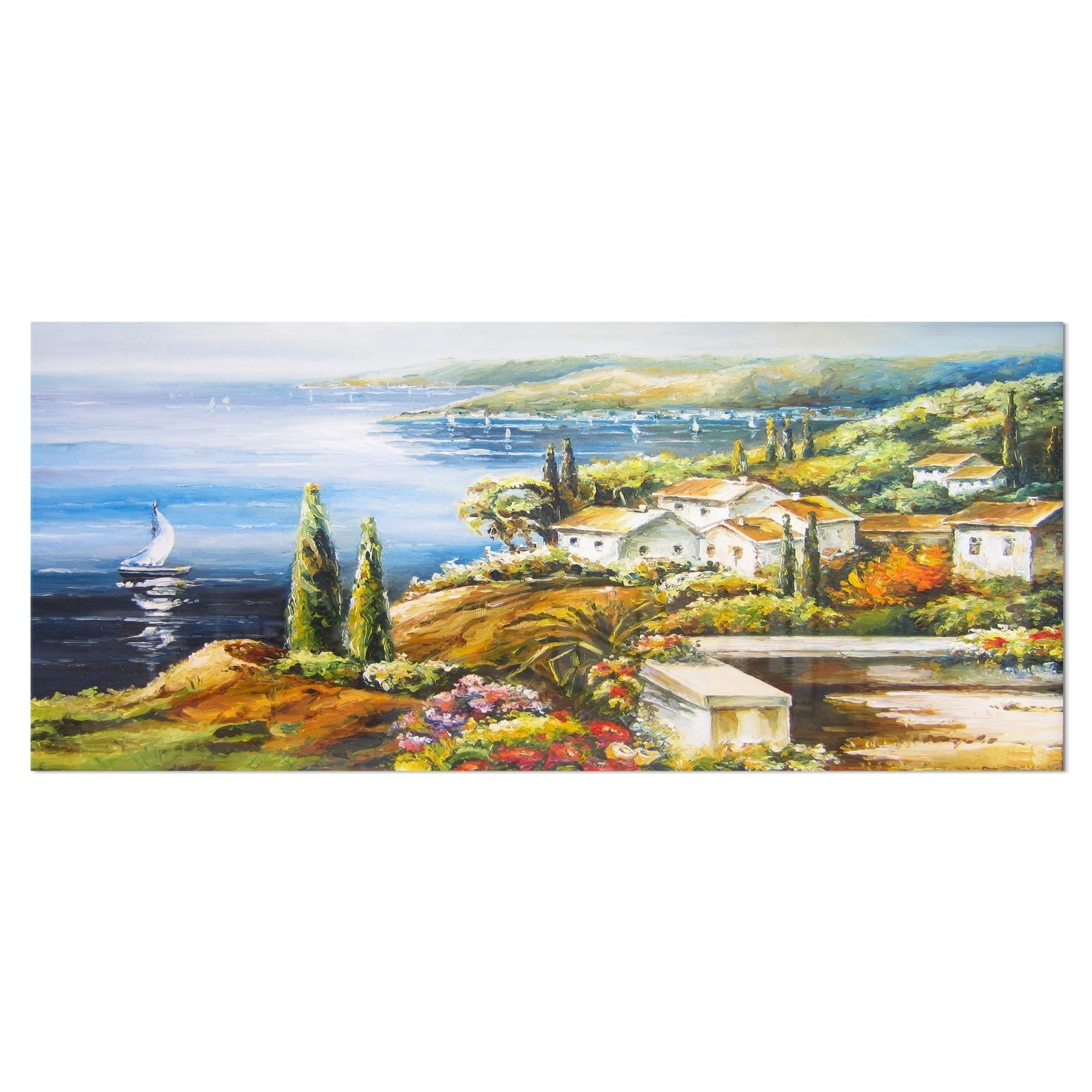 Designart Sailing Boat Remote View Seascape Metal Wall Art Overstock 11870482