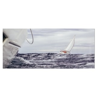 Designart 'Storm While Sailing' Seascape Painting Metal Wall Art