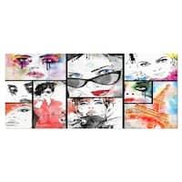 Designart 'Girls Collage' Portrait Modern Metal Wall Art