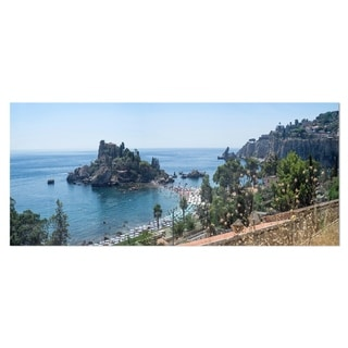 Designart 'Taormina Island Panoramic View' Landscape Photo Metal Wall Art