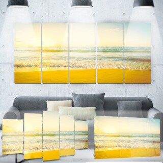 Designart 'Calm and Colorful Sunset at Beach' Seascape Photo Metal Wall Art