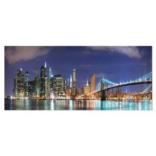 Designart 'Manhattan Panoramic Skyline View' Cityscape Photo Metal Wall Art
