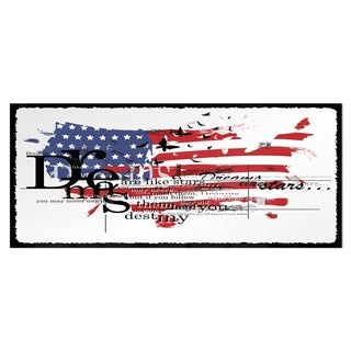 Designart 'Vintage Fashion USA Flag' Map Metal Wall Art