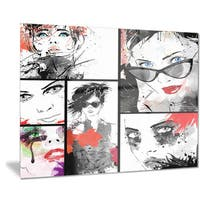 Designart 'Beautiful Faces Collage' Portrait Digital Art Metal Wall Art