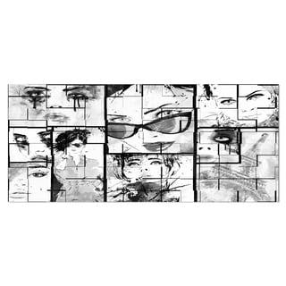 Designart 'Many Girl Faces Collage' Portrait Digital Art Metal Wall Art